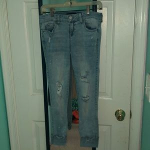 distressed bleached jeans